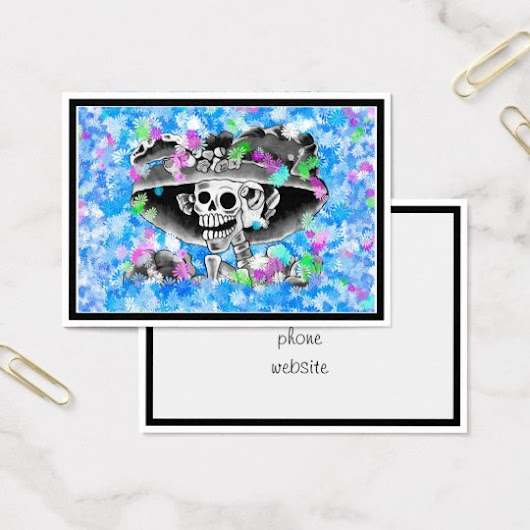 Laughing Skeleton Woman in Bonnet on Blue Business Card
