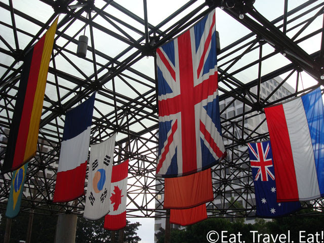 Flags at Porte Cochere