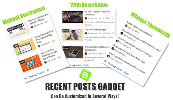 Recent Posts Gadget For  Blogger