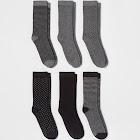 Women's 6pk Novelty Crew Socks - A New Day Black One Size