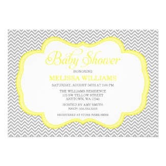 Gray Chevron Yellow Frame Baby Shower Invitations