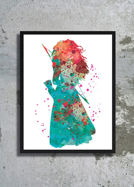 Princess Merida Brave Watercolor Art Print Nursery by BogiArtPrint