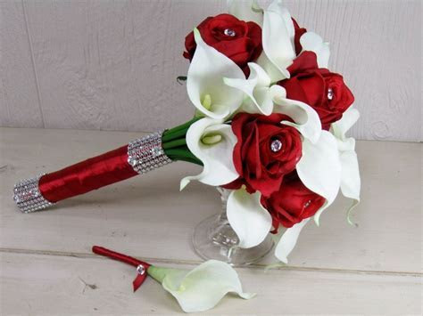 Red Rose and White Calla Lily Wedding Bouquet Set