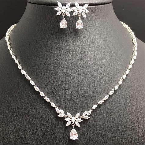 wholesale Bridal Jewelry Sets Crystal CZ Flower Bridal