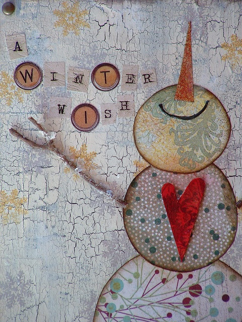 love this mixed media snowman!