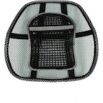 QVS Ergonomic Lumbar Back Support with Large Massage Pad, Black/Gray