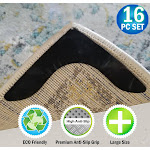 Reusable Corner Rug Grippers Prevents Curling, Moving, Sliding, & Slipping - Anchors Carpet & Mats To Your Floor - 16pc Set