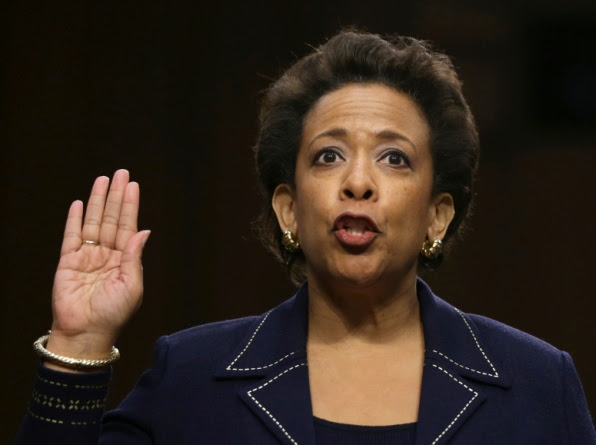 Loretta Lynch is sworn in before testifing during her confirmation hearing before the Senate Judiciary Committee Jan. 28.