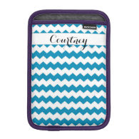 Caribbean Blue Chevron Personalized Ipad Mini Sleeve For iPad Mini