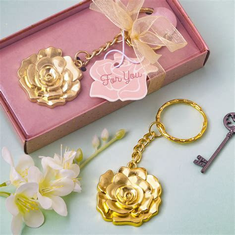 Gold Rose Key Chain Party Favors, Wedding Favors, Bridal