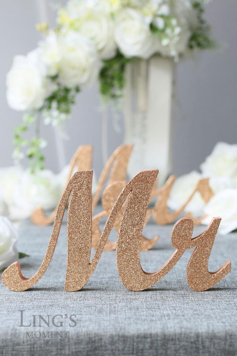 Glitter Mr And Mrs Letters Head Table Decorations Rose Gold Mr And