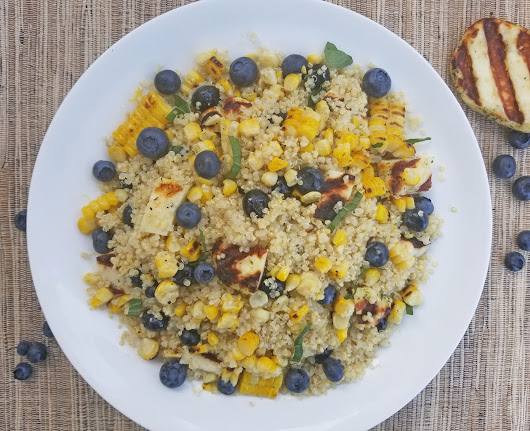 Blueberry & Halloumi Quinoa Salad with Charred Corn