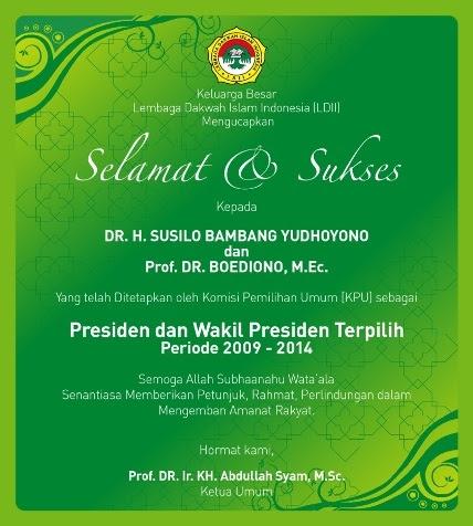 Selamat dan Sukses untuk Indonesia yang lebih baik