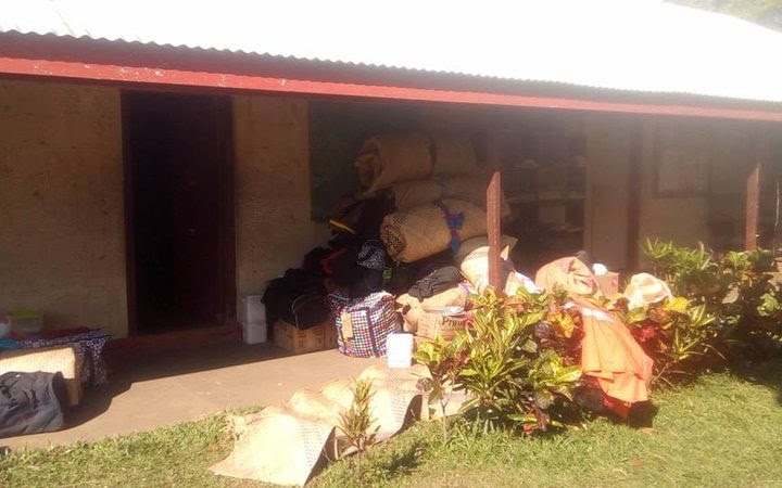 Evacuation centre on Ambae - people could only take what they could carry.