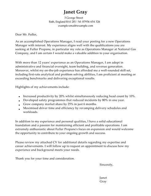 Operations Manager Cover Letter Template Cover Letter