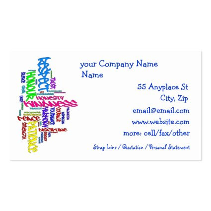 Respect, Kindness, Trust... Virtues word art Double-Sided Standard Business Cards (Pack Of 100)