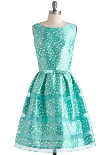 Rosé Bubbly Dress in Mint - White, Polka Dots, Bows, Belted, Formal, Prom, Vintage Inspired, 50s, Fit & Flare, Sleeveless, Spring, Mint, Wedding, Mid-length, Luxe, Pastel, Bridesmaid