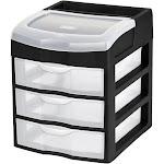 Sterilite 3-Drawer Desktop Storage Unit - Black