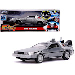 Jada 31468 DeLorean Brushed Metal Time Machine with Lights Flying Version Back to the Future Part II 1989 Movie Hollywood Rides Series 1 by 24 Diecast