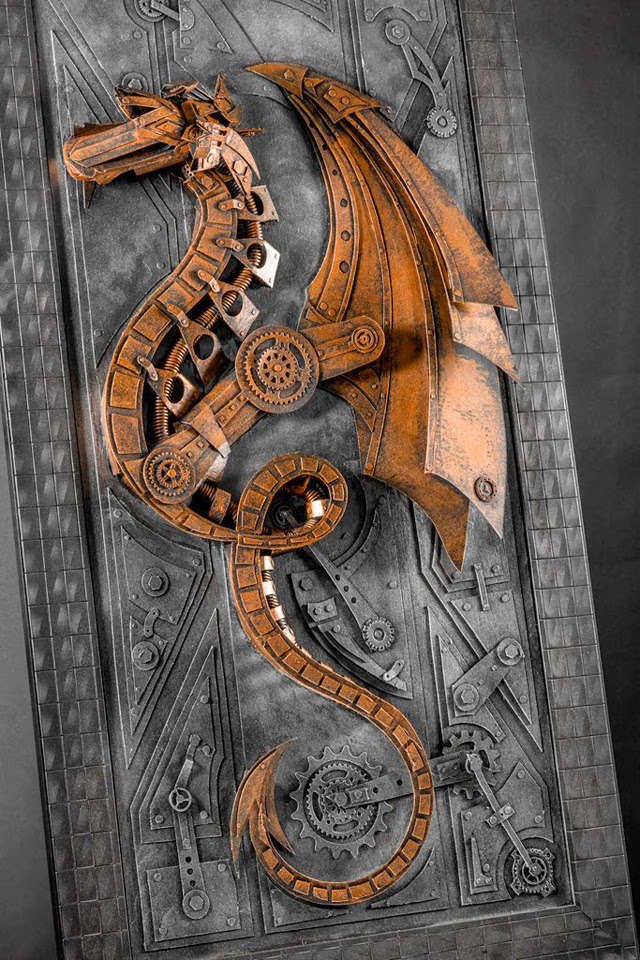 Vintage Steampunk Sculptures Made of Cardboard Dragon