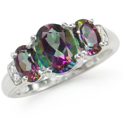 2.62ct. 3-Stone Mystic Fire Topaz 925 Sterling Silver Ring Size 6