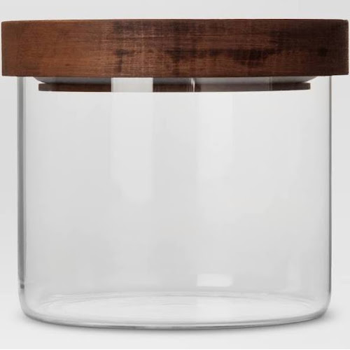 Glass Storage Canister with Wood Lid - Extra Small - Threshold , Clear