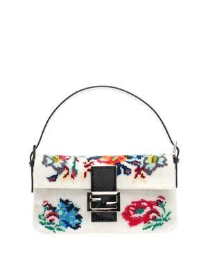 Floral beaded Baguette bag