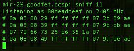 goodfet.ccspi sniff 11