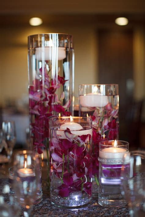 Purple Orchid and Floating Candle Centerpieces