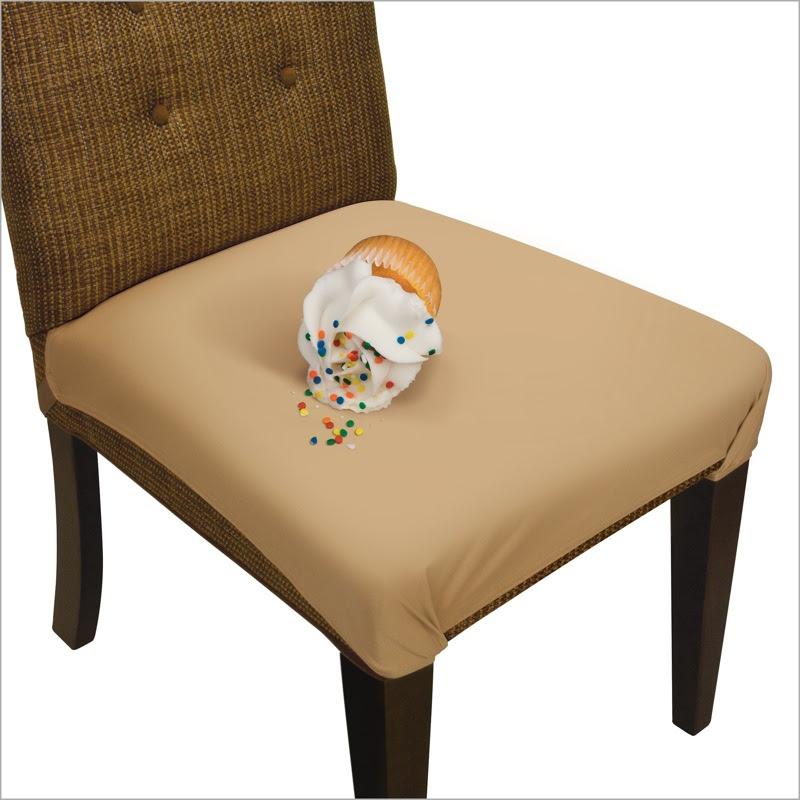 Dining chair with Tan SmartSeat Cover