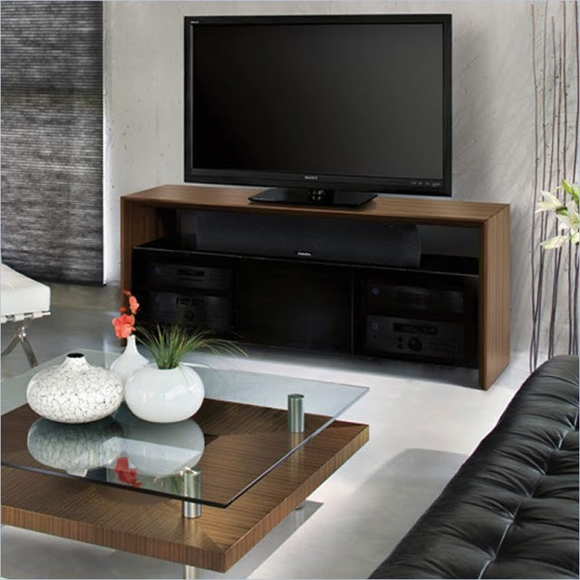 BDI Casata Wood Flat Panel/ Plasma TV Stand in Natural Walnut ...