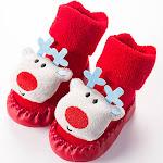 PatPat Light Blue Baby Socks 3-6 mo Unisex - Baby Christmas Style 3D Cartoon Design Floor Socks