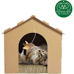 FurHaven Pet Cat Scratcher   Corrugated Gingerbread House With Catnip And Toy