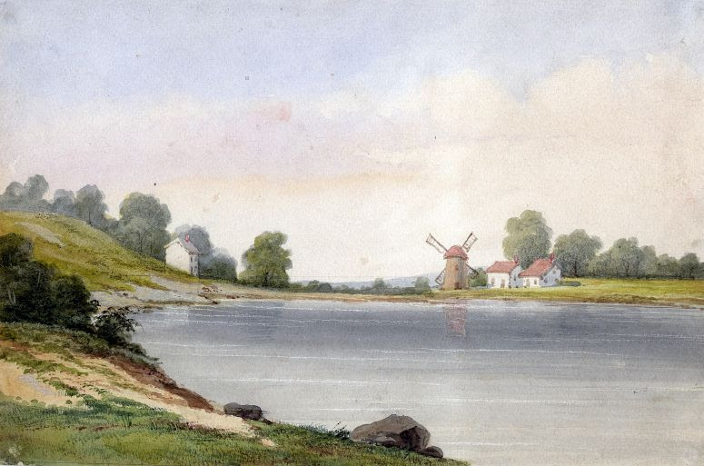 Landscape With A Body Of Water And Windmills