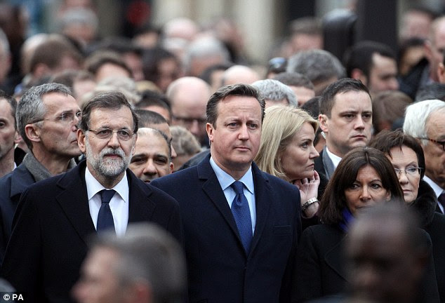 Prime Minister David Cameron joins other world leaders at the start of the defiant march through Paris