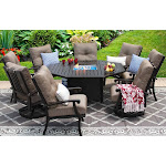 Outdoor Patio 9PC Set 71 Inch Octagonal Fire Table
