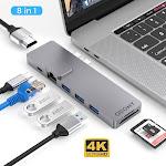 Willstar Type-C USB C Hub USB-C To 4K HDMI USB 3.0 SD TF Card Reader Adapters grey 8In1
