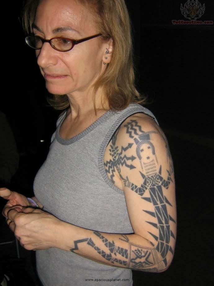 Native American Tattoo On Full Sleeve