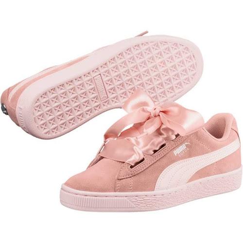 2d4c1dde896 Puma Big Kids  Suede Heart Jewel Jr Training Shoes  Pink 365138-01 ...