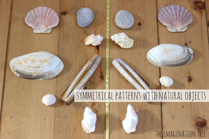 Symmetrical patterns with shells and natural objects