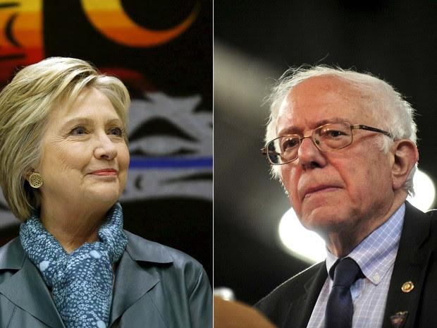 Os pré-candidatos democratas Hillary Clinton e Bernie Sanders em eventos de campanha nessa semana em Washington (Foto: REUTERS/Mario Anzuoni/Michael Lopez)