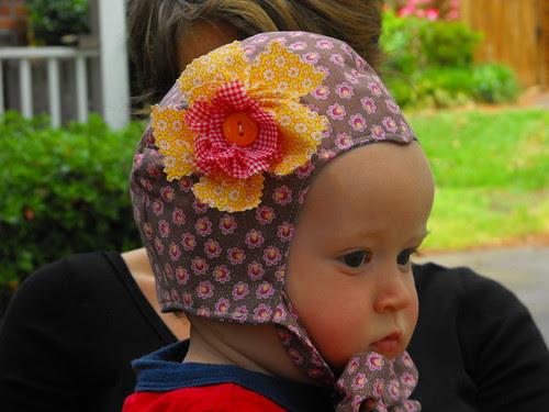 Pilot Cap Bonnet with Flower