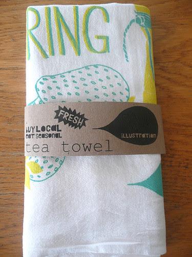 Spring tea towel folded