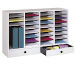 Pemberly Row Grey 32 Compartment File Organizer with Drawer - PR-164789