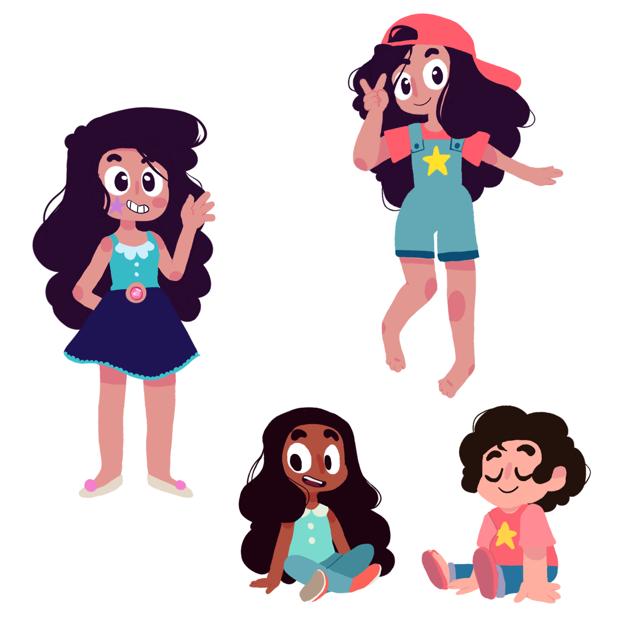 I wanted to try some lineless stuff so I doodled the kiddos!! i combined some of their outfits for Stevonnie's outfits! (I think that was a meme going around before but idk) I like these a lot so you...
