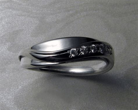 Ladies Band for, Free form Engagement Ring Set