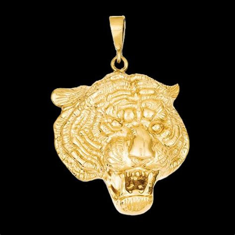 gold tigers face pendant