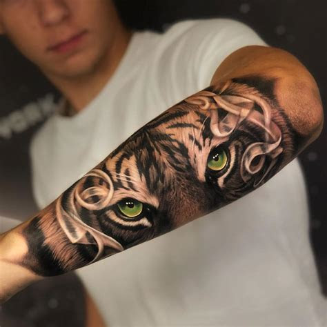 green eyed tiger mens forearm piece  tattoo design
