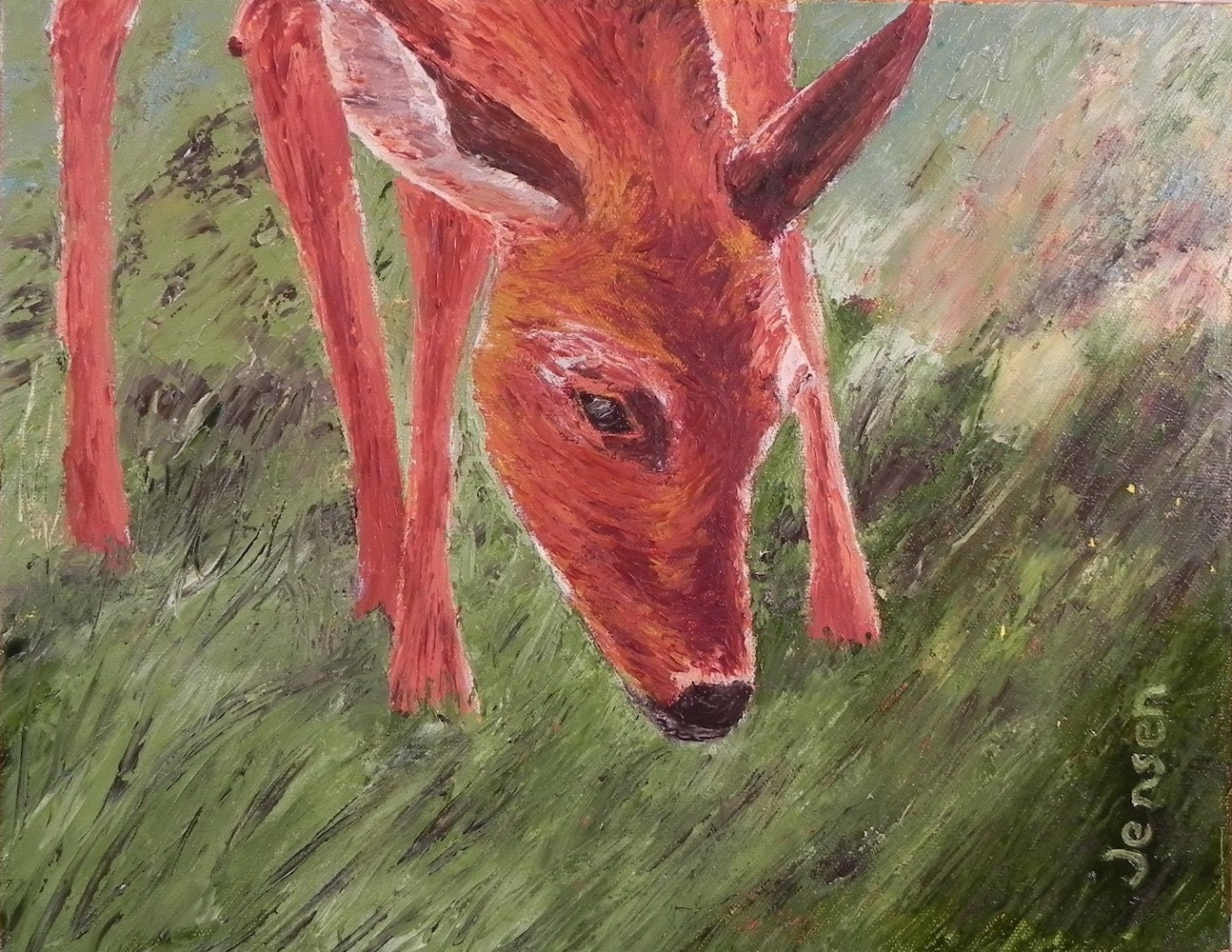 "Deer In The Grass, 14""x 11"", oil on canvas"