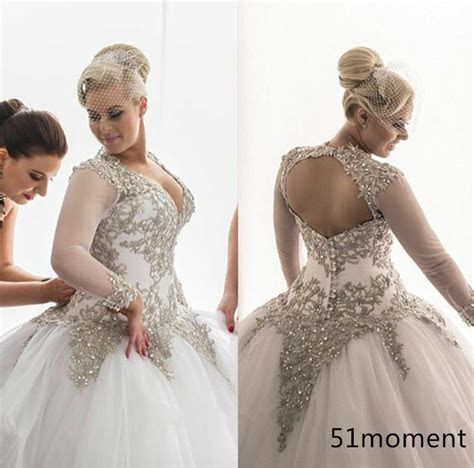 2016 Wedding Dresses Ball Gown Bridal Gowns Sliver Lace